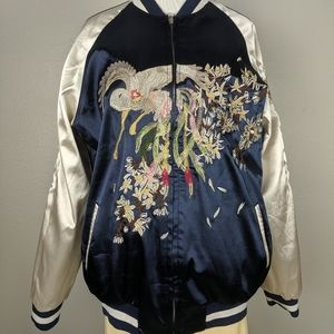 Reversible satin bomber jacket embroidery
